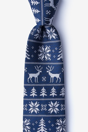 Less Ugly Christmas Sweater Navy Blue Extra Long Tie