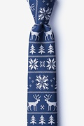 Navy Blue Microfiber Less Ugly Christmas Sweater Skinny Tie