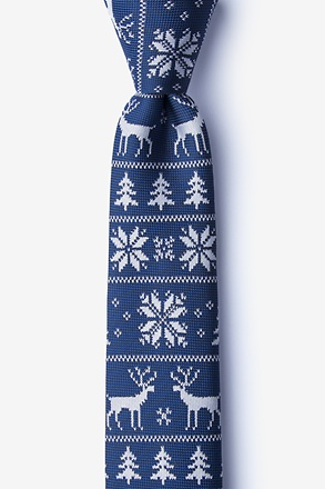 Less Ugly Christmas Sweater Navy Blue Skinny Tie
