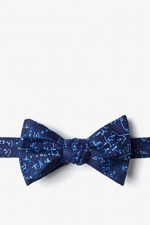 _Math Equations Navy Blue Self-Tie Bow Tie_