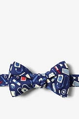 Navy Blue Microfiber Medical Supplies Butterfly Bow Tie