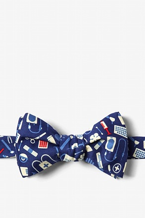 _Medical Supplies Navy Blue Self-Tie Bow Tie_