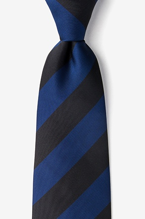 _Navy & Black Stripe Extra Long Tie_