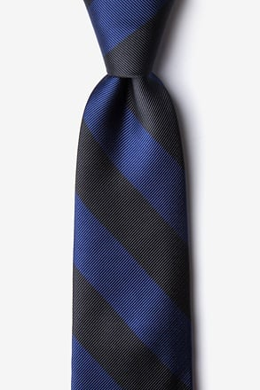 _Navy & Black Stripe Navy Blue Tie_