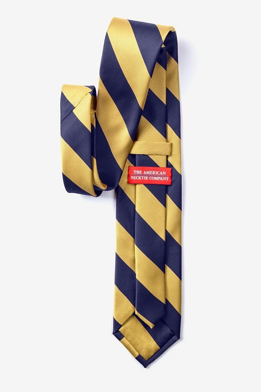 Navy & Gold Stripe Navy Blue Extra Long Tie