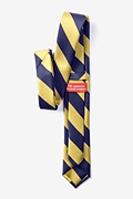 Navy & Gold Stripe Navy Blue Skinny Tie Photo (2)