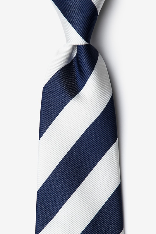 Navy & Off White Stripe Extra Long Tie