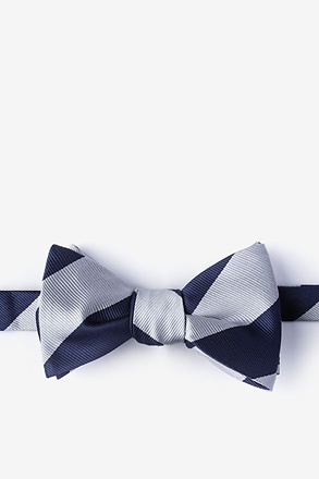 _Navy & Off White Stripe Navy Blue Self-Tie Bow Tie_