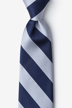 _Navy & Silver Stripe Extra Long Tie_