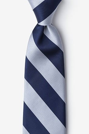 _Navy & Silver Stripe Navy Blue Tie_