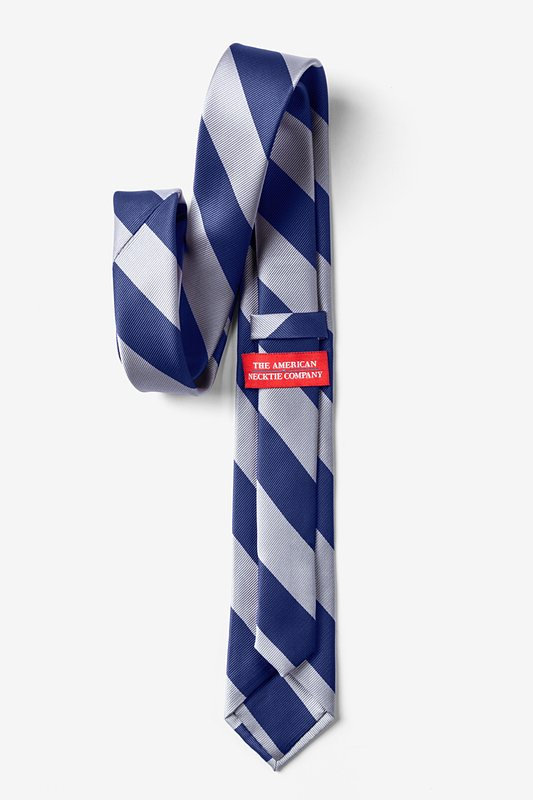 Navy & Silver Stripe Navy Blue Tie For Boys Photo (1)
