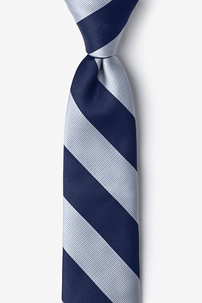 Navy & Silver Stripe Navy Blue Tie For Boys