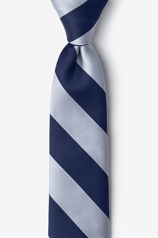 Navy & Silver Stripe Navy Blue Tie For Boys Photo (0)