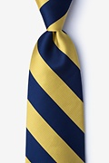 Navy Blue Microfiber Navy & Gold Stripe Extra Long Tie