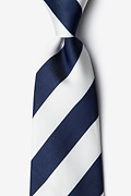 Navy Blue Microfiber Navy & Off White Stripe Extra Long Tie