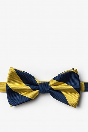 Navy And Gold Pre-Tied Bow Tie