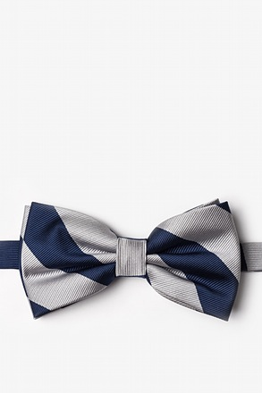 Navy And Silver Pre-Tied Bow Tie