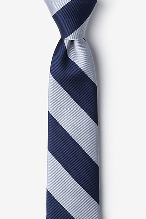 Navy And Silver Stripe Skinny Tie
