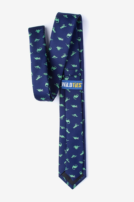 Navy Blue Dinosaurs Roaming Skinny Tie Photo (1)