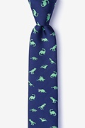 Navy Blue Dinosaurs Roaming Skinny Tie Photo (0)