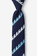 Navy Blue Microfiber Ocean Waves Skinny Tie