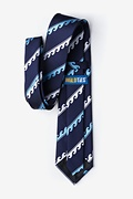 Ocean Waves Navy Blue Tie Photo (2)