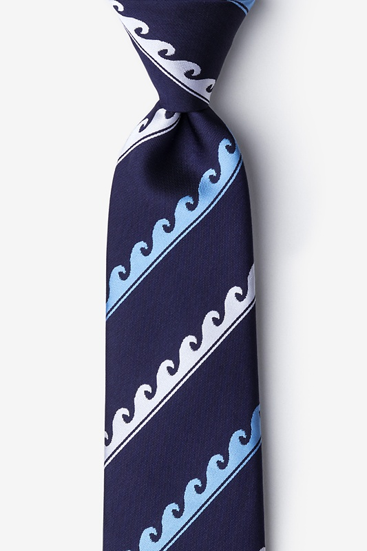Ocean Waves Navy Blue Tie Photo (0)