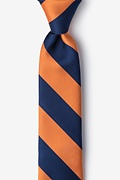 Navy Blue Microfiber Orange & Navy Stripe Tie For Boys