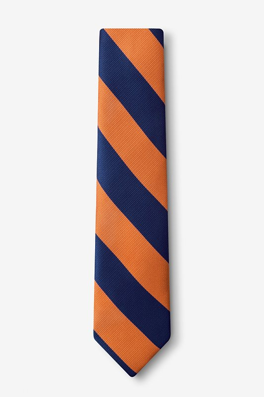 Orange & Navy Stripe Tie For Boys