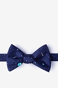 Navy Blue Microfiber Outer Space Self-Tie Bow Tie