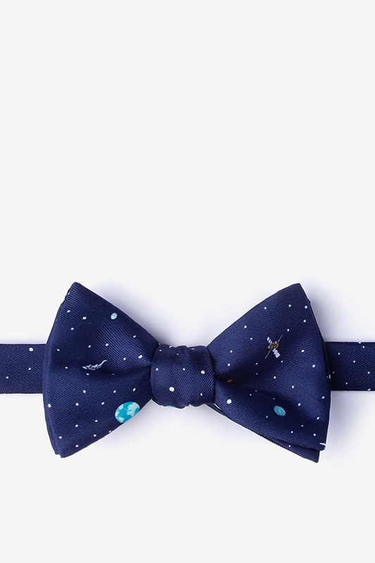 Outer Space Navy Blue Self-Tie Bow Tie Photo (0)