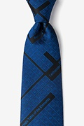 Navy Blue Microfiber Periodic Table Extra Long Tie