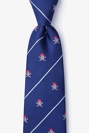 _Pirate Skull and Swords Extra Long Tie_