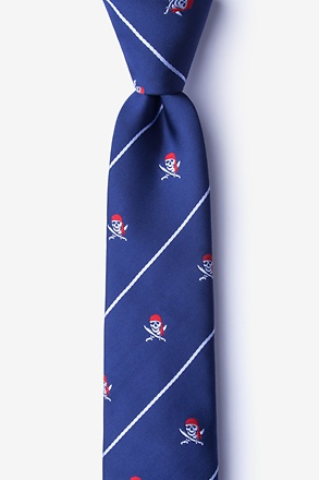 _Pirate Skull and Swords Navy Blue Skinny Tie_