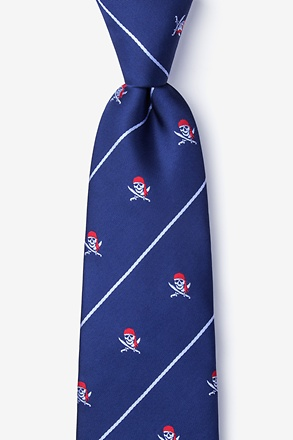 Pirate Skull and Swords Navy Blue Tie