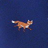 Navy Blue Microfiber Prowling Foxes Skinny Tie