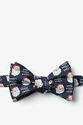 Navy Blue Microfiber Santa Faces Self-Tie Bow Tie