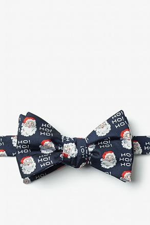 Santa Faces Navy Blue Self-Tie Bow Tie