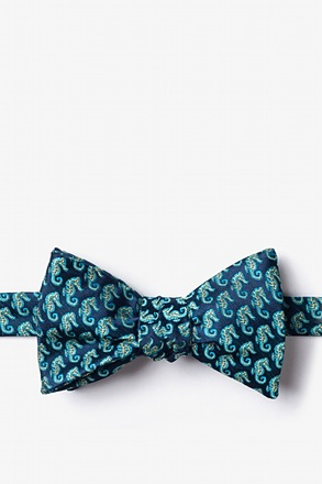 Seahorses Navy Blue Self-Tie Bow Tie
