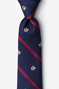 Navy Blue Microfiber Ship Stripe Extra Long Tie