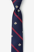 Navy Blue Microfiber Ship Stripe Skinny Tie