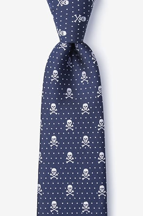_Skull & Polka Dots Navy Blue Extra Long Tie_