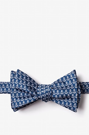 Small Anchors Navy Blue Self-Tie Bow Tie