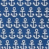 Navy Blue Microfiber Small Anchors Skinny Tie