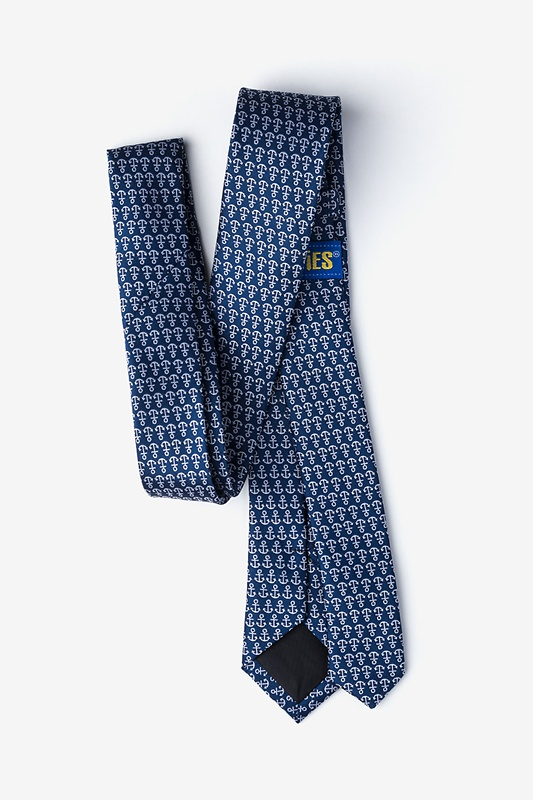 Small Anchors Navy Blue Skinny Tie Photo (1)
