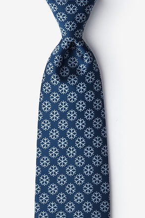 _Snowflakes Navy Blue Extra Long Tie_
