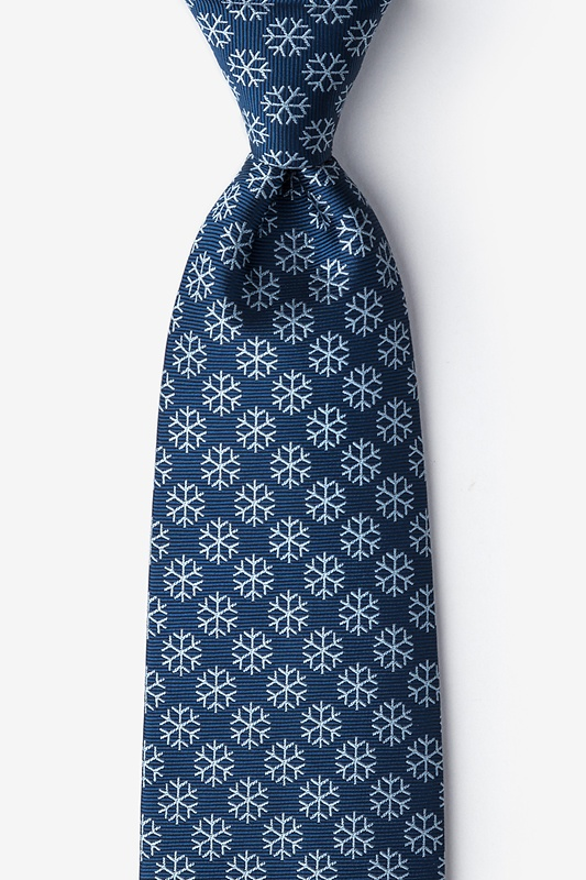 Snowflakes Navy Blue Extra Long Tie Photo (0)