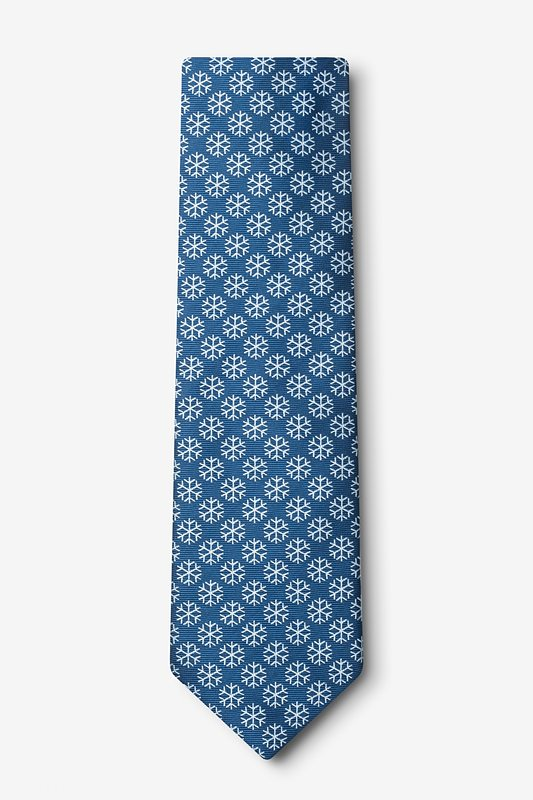 Snowflakes Navy Blue Tie Photo (1)