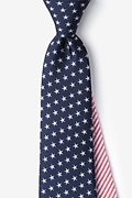 Navy Blue Microfiber Stars & Stripes Extra Long Tie