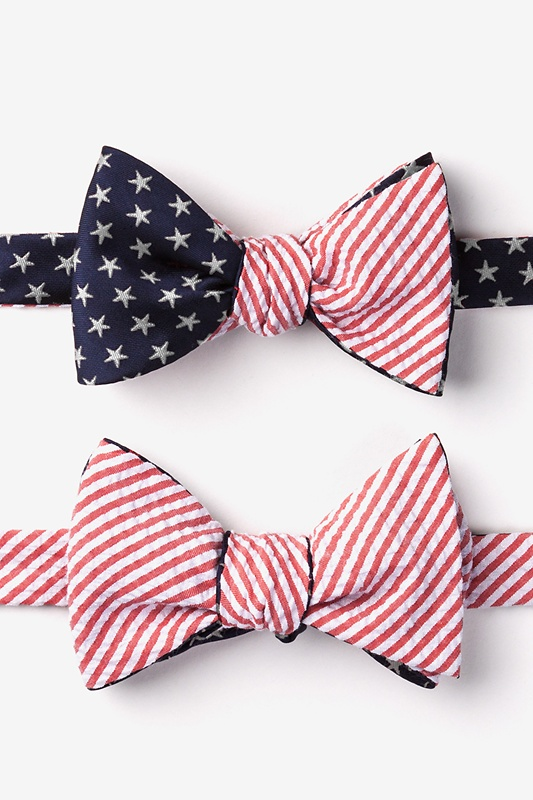 Stars & Stripes Reversible Navy Blue Self-Tie Bow Tie Photo (2)